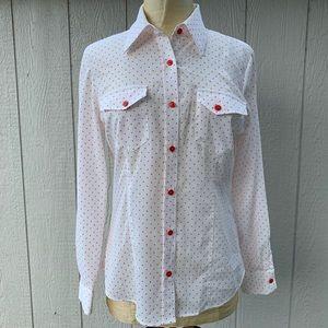 Pendleton Button Up Polka Dot Blouse Top
